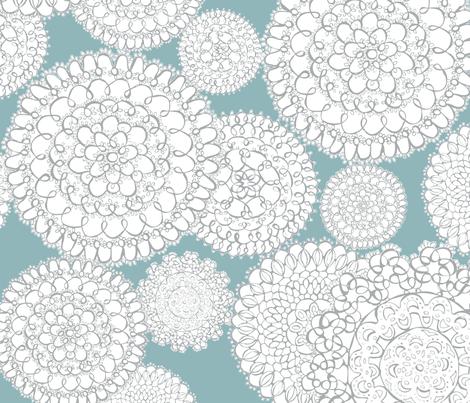 Delightful Doilies - Feminine Lace Aqua & Grey fabric by heatherdutton on Spoonflower - custom fabric