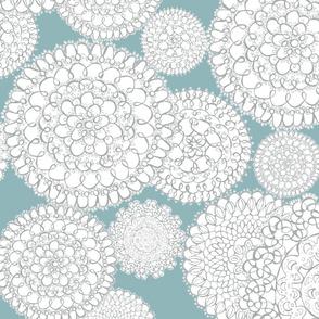 Delightful Doilies - Feminine Lace Aqua & Grey