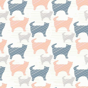 Blue Pink and Grey Pastel Kitty Cat Silhouette
