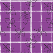 Rose leaves on purple windowpane