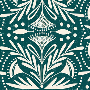 Lenox - Damask Dark Teal Jumbo Scale