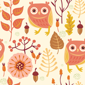 Bright Autumn Day Owls In The Woods