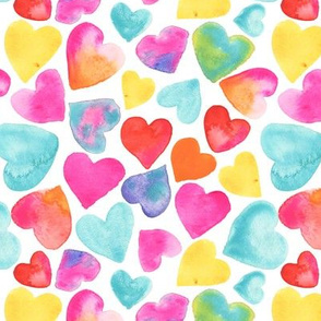 Watercolor Hearts Colorful