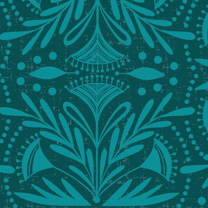 Lenox - Damask Dark Teal Tonal Jumbo Scale