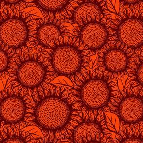 Sunflowers Dark Orange + Red (large scale)