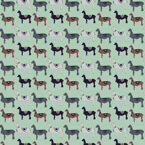 Colorful Llama Pattern On Green
