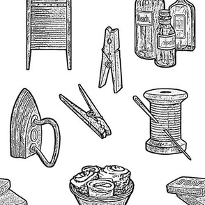 Vintage Laundry Tasks, Laundry Room Decor, Country Decor Black and White Drawing
