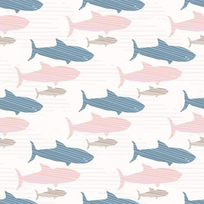 Pink and Blue Kids Cute Shark Silhouette Wave