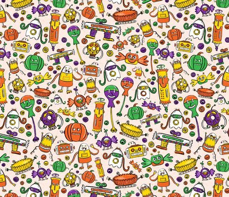 Monster Halloween Candy Bots DIRECTIONAL in Orange, Black, Purple, & Green // Fall Holiday Themed Candy Shaped Robots // Nerdy Halloween fabric by zirkus_design on Spoonflower - custom fabric