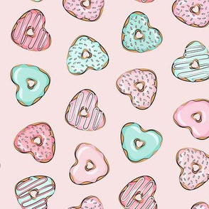 (small scale) heart shaped donuts - valentines pink & mint  on pink (toss) C18BS