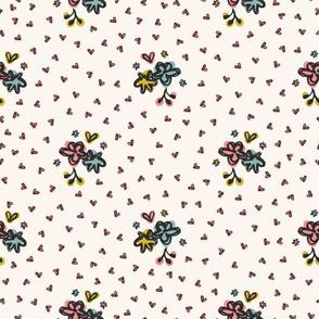 Cute Ditsy Daisy Heart Sprinkles Flowery Garden