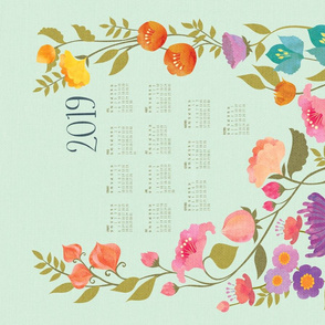 Enchanted Garden 2019 Calendar Tea Towel {Sky}