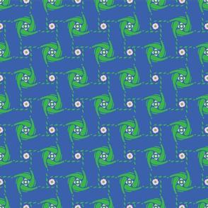 Abstract Polka Dot Grid Shapes Blue and Green