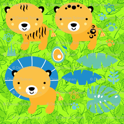 Lions and Tigers on Forest Leaves