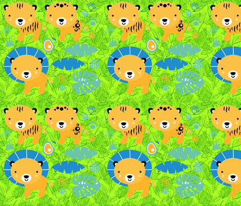 Lions and Tigers on Forest Leaves fabric by fabric_is_my_name on Spoonflower - custom fabric
