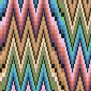 Bargello Flame Stitch in Pink Blue Gold and Green