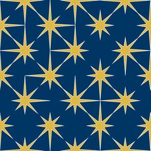 starburst in mustard on cobalt