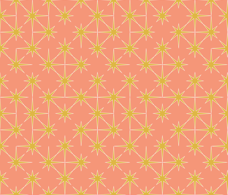 starburst in mustard on peach fabric by eleventy-five on Spoonflower - custom fabric