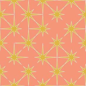 starburst in mustard on peach