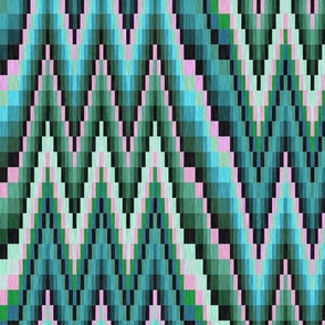 Bargello Flame Stitch in Teal Turquoise Green and Pink