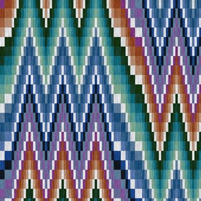 Bargello Flame Stitch in Purple Teal and Orange