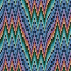 Bargello Flame Stitch in Purple Teal and Orange with Black