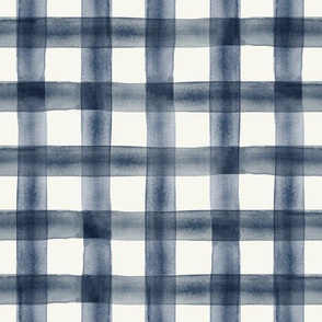 watercolor plaid || navy on cream C18BS