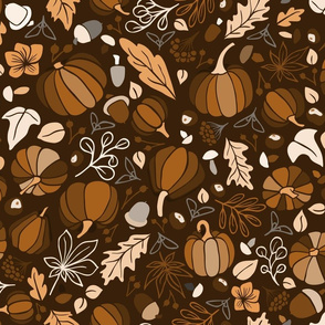 Fall Fruits on Chocolate Brown