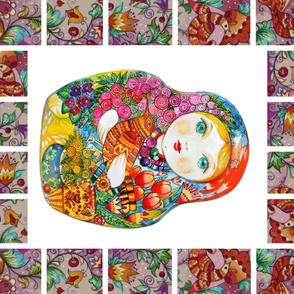 oxana zaika russian matreshka Nesting doll Blanket panelPanel