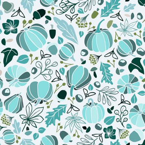 Fall Fruits in Frosty Blues on White