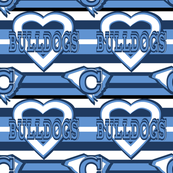 The Citadel Bulldogs School Team Colors Blue Navy White Stripes Heart