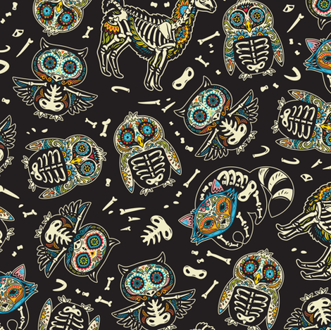 Day of the dead skeleton animals_big scale fabric by penguinhouse on Spoonflower - custom fabric