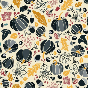 Fall Fruits in Navy and Yellow