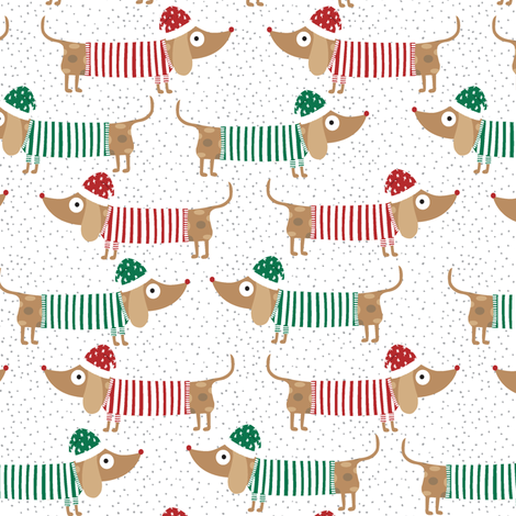Dachshund Through The Snow in White, dachshund christmas, puppy christmas, dogs with christmas hats fabric by red_raspberry_design on Spoonflower - custom fabric