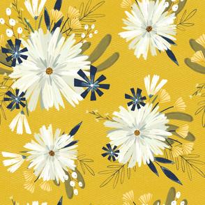Vintage daisies, vintage style floral, vintage floral, retro floral pattern, retro daisy pattern large scale