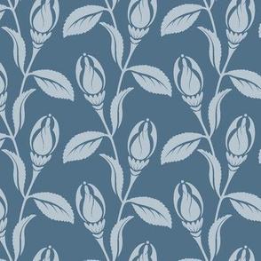 Art Deco flower blue