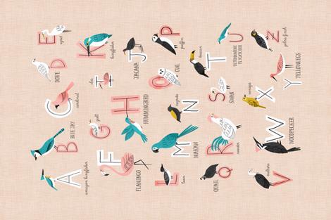 Bird Alphabet Tea towel fabric by tatiabaurre on Spoonflower - custom fabric