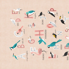 Bird Alphabet Tea towel