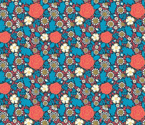 Folk flowers fabric by helena_nilsson on Spoonflower - custom fabric