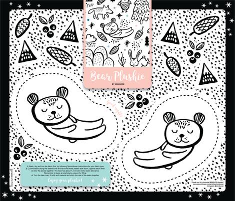 Cut-and-Sew Plushie Bear by Minikuosi fabric by minikuosi on Spoonflower - custom fabric
