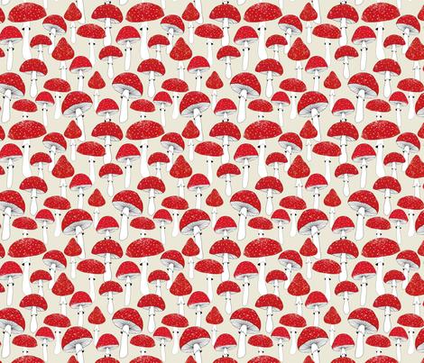 Red mushrooms on beige /scale/ fabric by lavish_season on Spoonflower - custom fabric