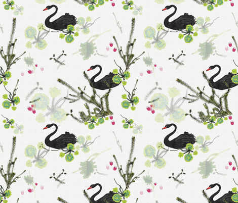 Black Swan with flora and fauna fabric by henry_&_florence on Spoonflower - custom fabric
