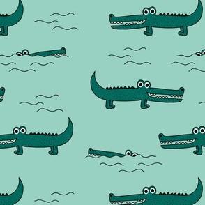 Little sweet crocodile baby alligator jungle love zoo illustration boys mint green