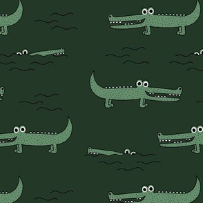 Little sweet crocodile baby alligator jungle love zoo illustration gender neutral green winter