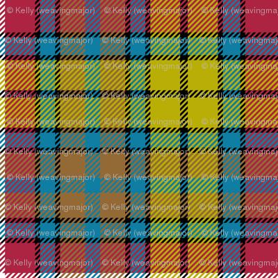"Buchanan Ancient tartan - 2"" red/yellow/brown/teal variant"