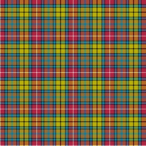 "Buchanan Ancient tartan - 2"" red/yellow/brown/teal variant"