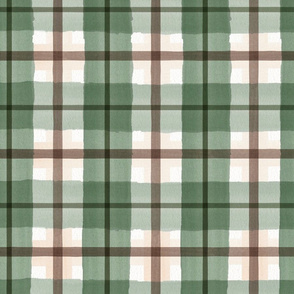 green and brown plaid watercolor