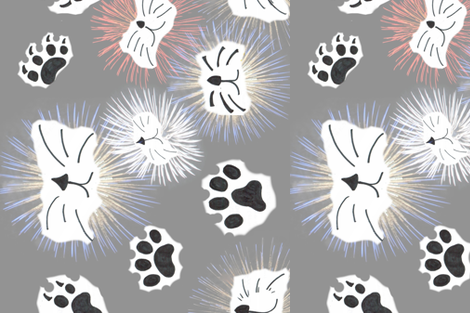 Here Kitty, Kitty! fabric by bent_line_designs on Spoonflower - custom fabric