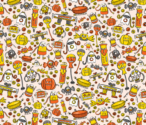 Monster Halloween Candy Bots in Orange, Yellow, Black, & Gray  // Fall Holiday Themed Candy Shaped Robots // Nerdy Halloween fabric by zirkus_design on Spoonflower - custom fabric