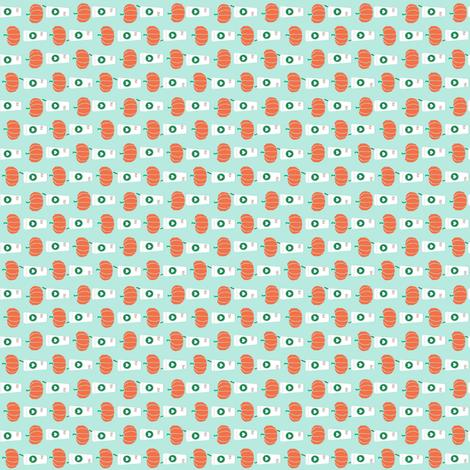 MICRO print pumpkin spice latte fabric - mint wallpaper